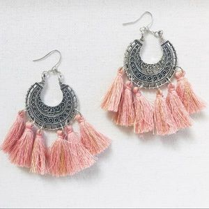 """Bohemian Pink"" tassel no hassle earrings"